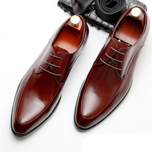 Mens Bullock genuine leather shoes luxury brand black men party wedding dress shoe Business Leather Shoes Phenkang