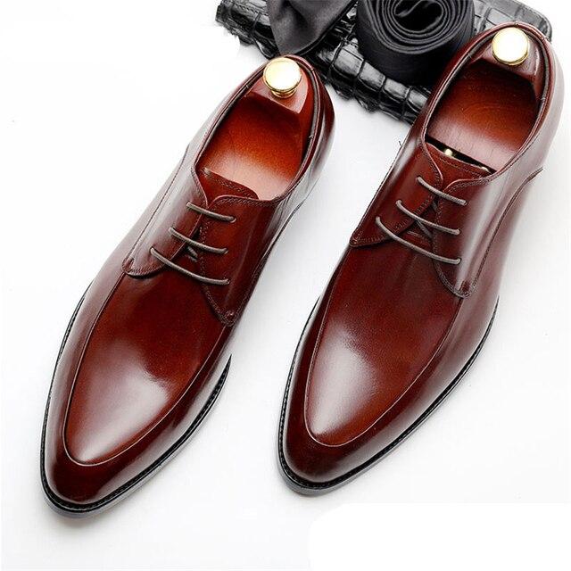Mens Bullock sapatos de couro genuíno marca de luxo preto homens sapato vestido de festa de casamento Sapatos de Couro de Negócios Phenkang