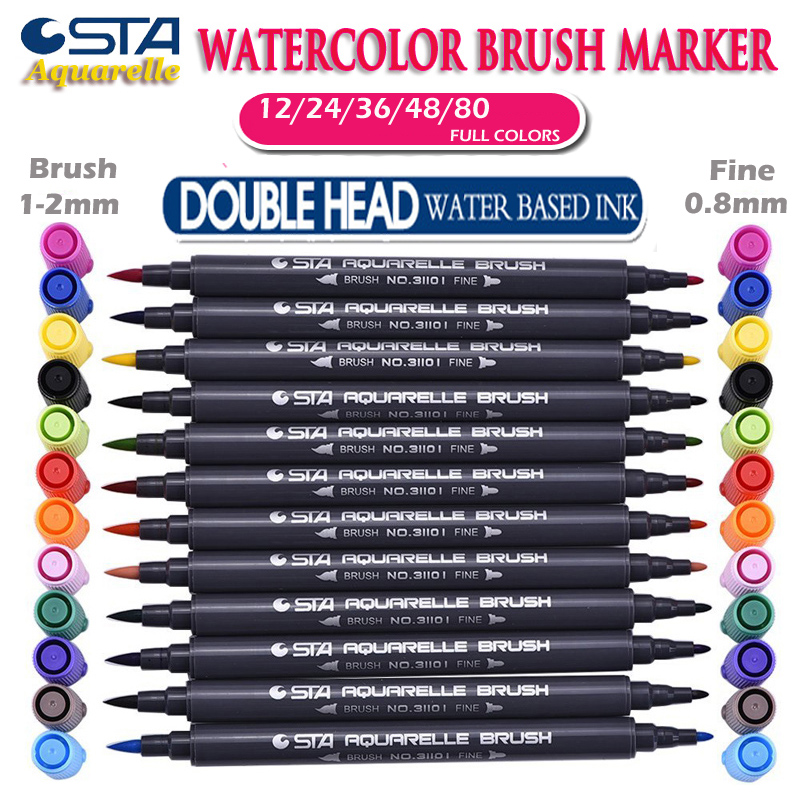 STA Brush Aquarelle Markers with Fineliner Tip Watercolor Sketch Pens Double Head Water Based Calligraphy Soft Highlight Marker