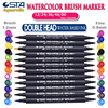 STA Dual Brush Water based Art Marker Pens with Fineliner Tip 24 80 36 48 Color Set watercolor soft markers for Artists drawing
