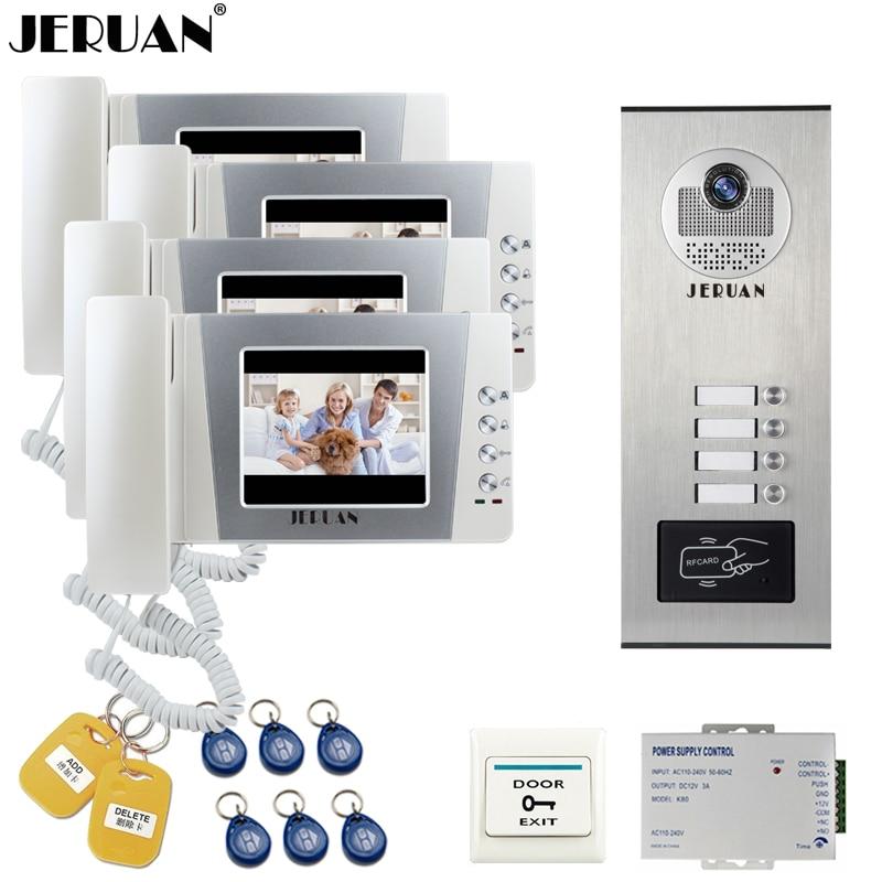 JERUAN 4.3 inch LCD Video Doorbell DoorPhone Intercom System 4 Monitor RFID Access Camera for 4 Household Apartment In Stock цена