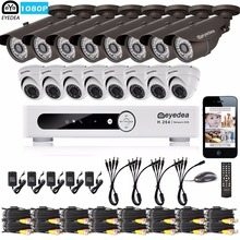 Eyedea 16CH Email Alert DVR 1080P 8 Bullet 8 Dome Outdoor Indoor LED Night Vision CCTV Security Camera Video Surveillance System