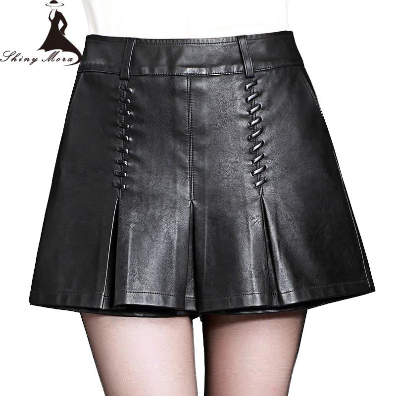 SHINYMORA Winter Autumn PU Shorts for Women 2017 New High Waist A-Line Leather Shorts Female Fashion Elegant PU Short Pants 4XL