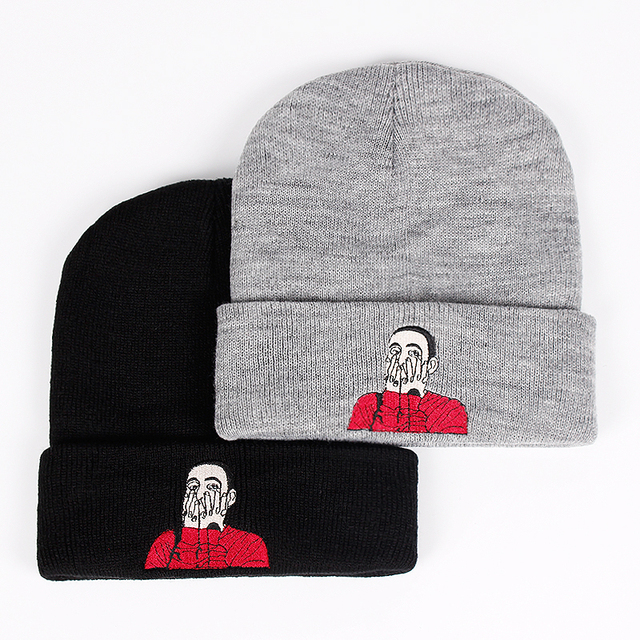 b1d1862a55a67 New US Rapper Malcolm Beanie Mac Miller Embroidery Knit Cap McCormick  Knitted Hat Skullies Winter Warm