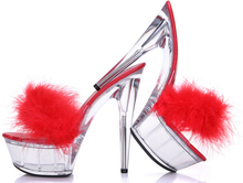 hot! 2015 Summer Models Models Transparent Crystal 15cm Super High Heels Waterproof Sandals Female Fun Fur Slippers Large Yards