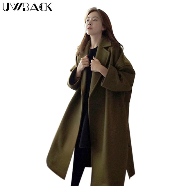 a1527b7d6 Uwback Winter Wool Trench Coat Women Maxi Long Loose Wool Overcoat Plus  Size Woolen Poncho Winter Womens Vintage Coats CBB350-in Wool & Blends from  ...