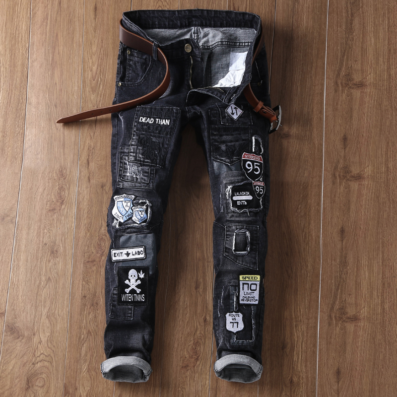 Mens Ripped Jeans 2017 Retro Jeans plus 38 Badge Denim Jeans Homme Calca Masculina Black Jeans Male