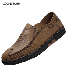 2019 fashion trend men's shoes genuine leather cow casual loafers slip-on breathable shoe man youth work platform shoes for men цена