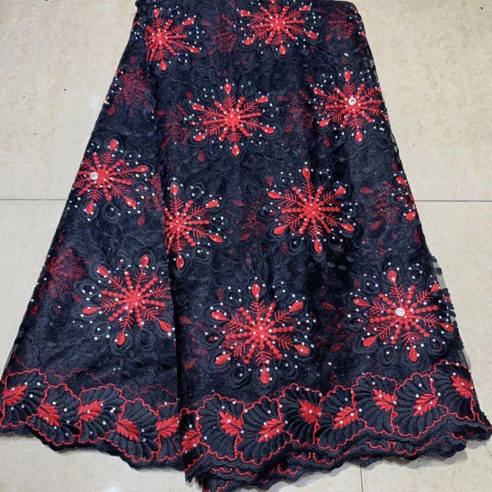 Dernier style européen noir et rouge avec pierres brillantes et perles robe tissu en gros nigéria Tulle dentelle tissu
