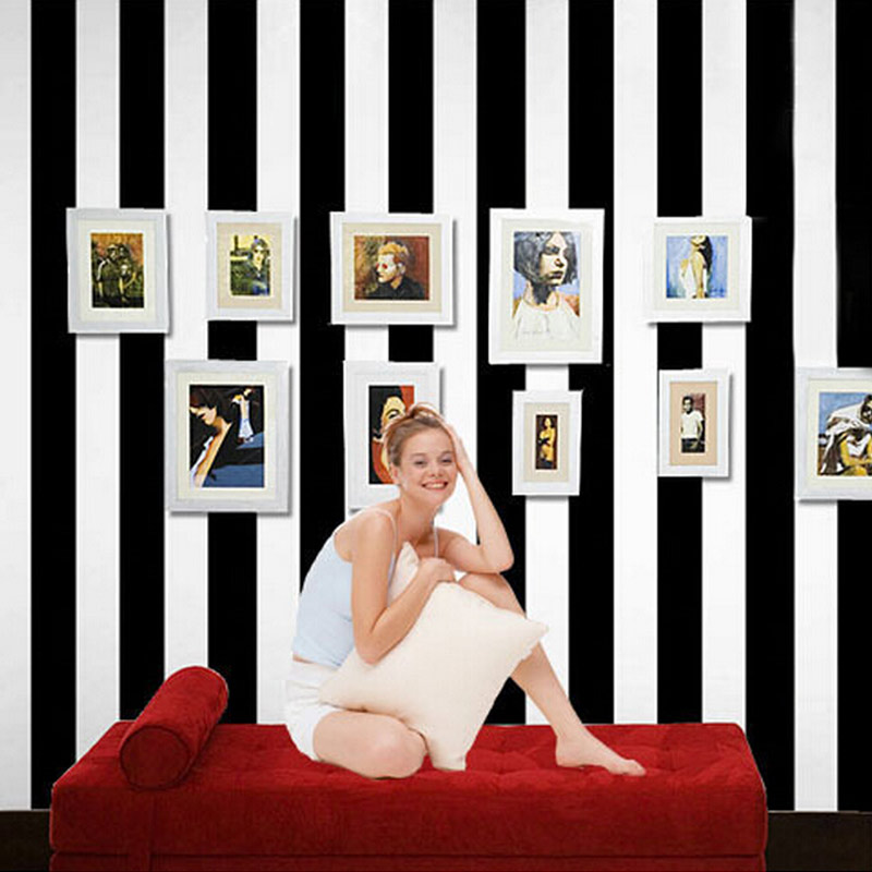 Buy 10m roll black and white wide stripe for Wide wallpaper home decor