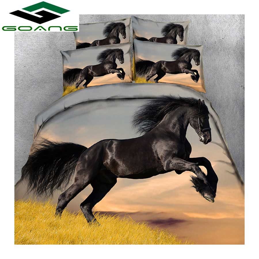 GOANG Theme Hotel Bedding Set 3d Bed Sheet Duvet Cover Pillow Case 3pcs Dark Horse Running Luxury Bedding Home Textiles
