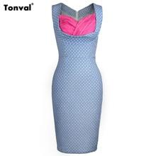 Tonval, винтажное Хлопковое платье-карандаш в горошек, синее, облегающее, женское, v-образный вырез, сексуальные, вечерние, элегантное, офисное, ретро платье
