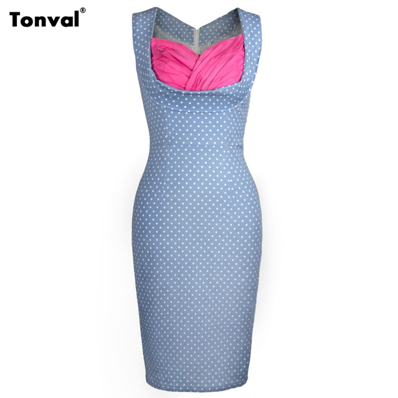Tonval Women Vintage Office Pencil Dress Summer Polka Dots Vintage Houndstooth Evening Party Sexy Bodycon Retro