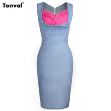 Tonval Women Vintage Office Pencil Dress Summer Polka Dots Vintage Houndstooth Evening Party Sexy Bodycon Retro Dresses