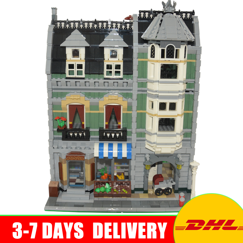 DHL Free Lepin 15008 City Street Green Grocer Model Educational Building Kits Blocks Bricks Toys Compatible 10185 More Stock free shipping lepin 2791pcs 16002 pirate ship metal beard s sea cow model building kits blocks bricks toys compatible with 70810