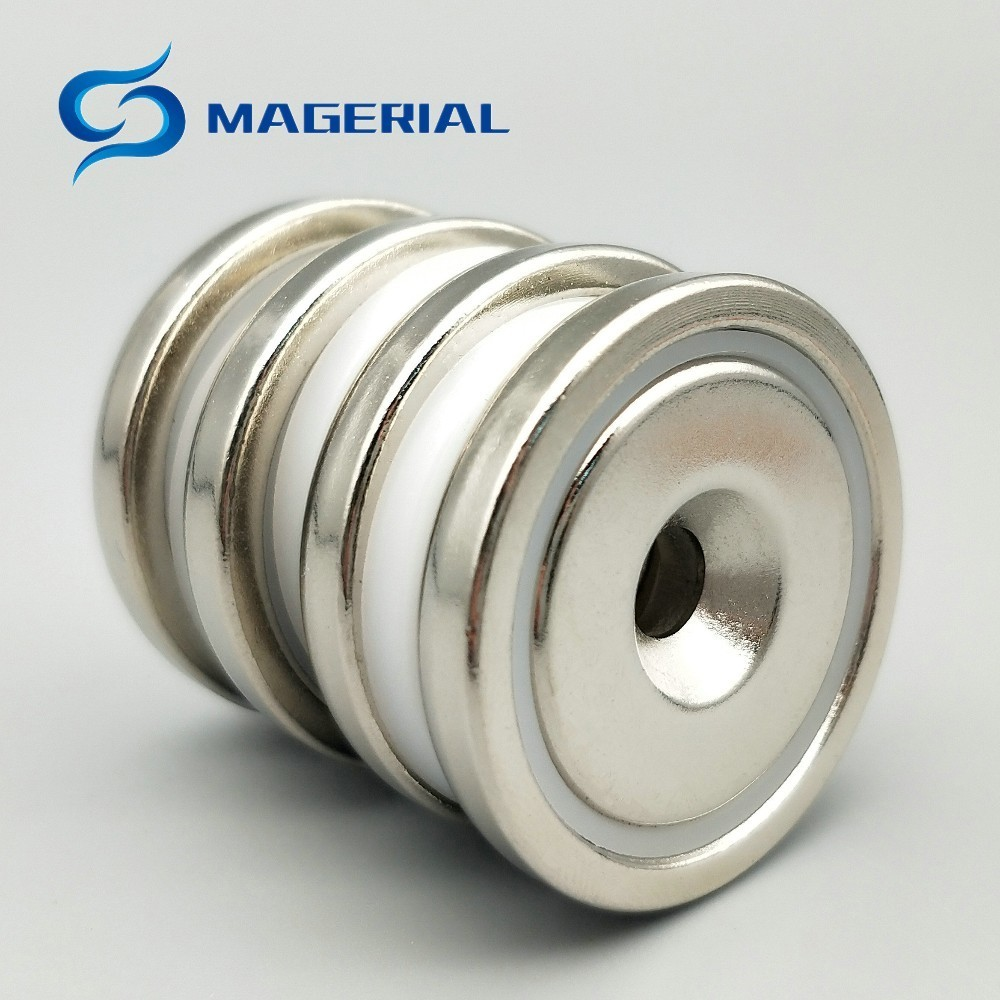 2-50pcs Mounting Magnet Pot Magnet Diameter 42 mm with Countersunk Screw Hole Neodymium Permanent Strong Holding Magnet 1 pack mounting magnet diameter 12 mm clamping pot magnet with steel hook neodymium lifting magnet strong magnet lathed cup