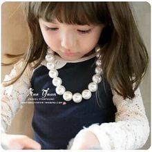 HappyKiss Necklace Best Sale Baby Beads Jewelry Children Kids Acrylic Simulated Pearl Necklace white beige girl(China)