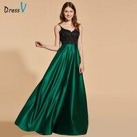 Dressv elegante verde lungo prom dress senza spalline empire waist zipper up semplice una linea di pizzo da sera del partito vestiti da promenade