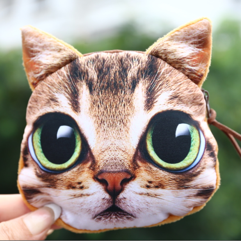Fashion Women cat Coin Purses Cute Girl Animal Mini Bag Key Ring Case Zipper Wallet Lovely Cat Face Pouch Change Purse wholesale 2017new coin purses wallet ladies 3d printing cats dogs animal big face fashion cute small zipper bag for women mini coin purse