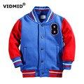 Vidmid 2-7y chaqueta de los muchachos del bebé ropa de los niños niñas ropa de abrigo para niños ropa de deporte del béisbol de la chaqueta con capucha de algodón