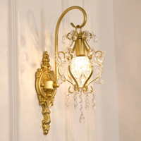 Vintage K9 crystal Wall Lamps classical iron wall sconce bedroom bedside home lighting living room study room crystal wall light