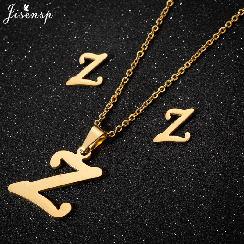 Jisensp Personalized A-Z Letter Alphabet Pendant Necklace Gold Chain Initial Necklaces Charms for Women Jewelry Dropshipping 53
