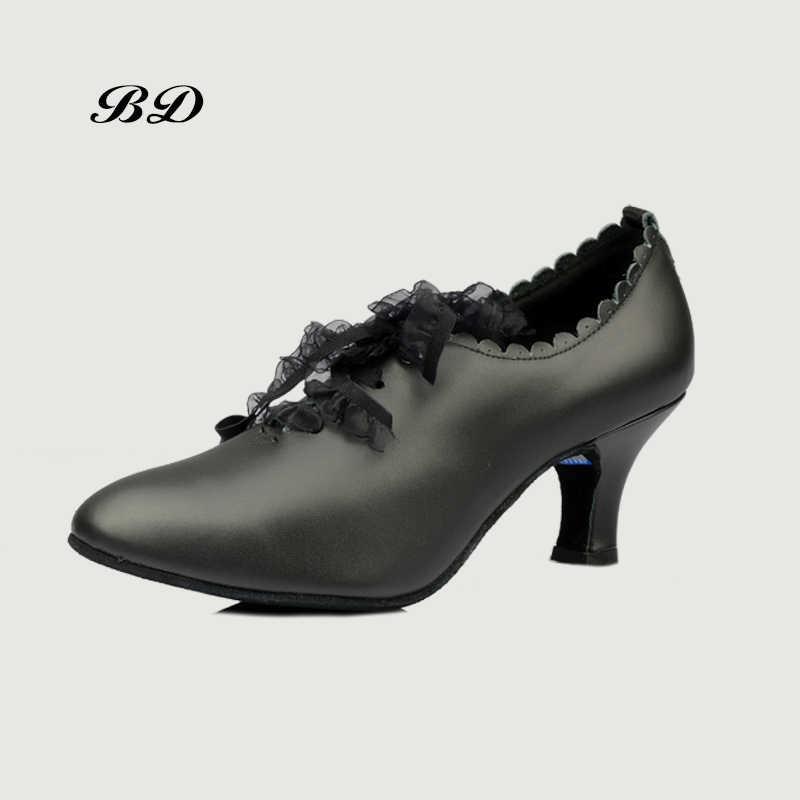 BD T58 أحذية الرقص قاعة المرأة اللاتينية أحذية الرقص امرأة حذاء التانغو جلد طبيعي مستقيم وحيد كعب 7 سنتيمتر الدانتيل الحديثة الجاز