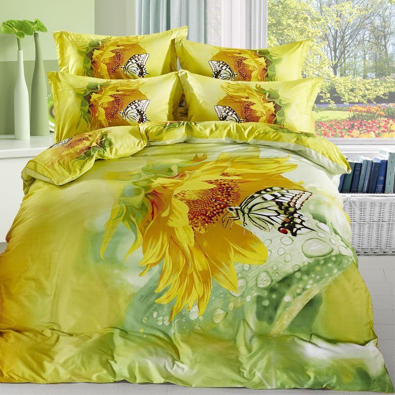 Watercolor Yellow Sunflower and Butterfly Bedding Set Queen Size Cotton Floral Printed Bed Sheets Duvet Cover Bed in a Bag 4pcs