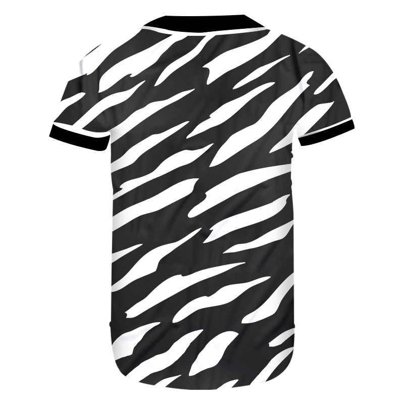 UJWI جديد ثلاثية الأبعاد و زيبرا المشارب رجل قميص البيسبول مطبوعة رجالي القوطية التي شيرت Unisex البيع للجنسين تي شيرت يوصي
