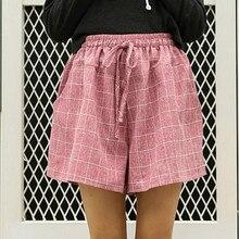 2019 New Fashion Plaid Women pants Summer Casual pantsLarge Size Cotton Wide Leg Pants Loose Tie Elastic Female Waist pants frilled tie waist plaid pants