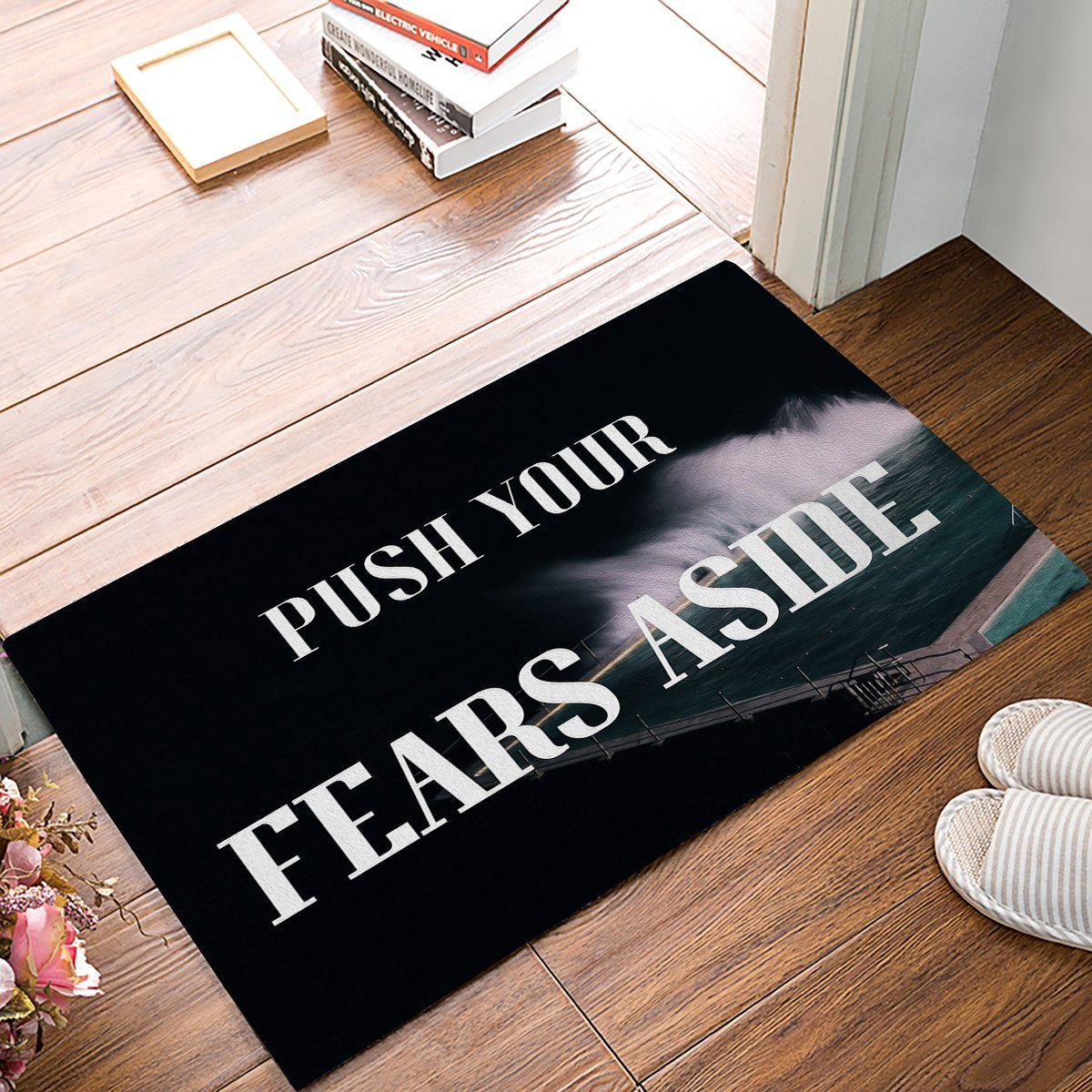 Push Your Fears Aside - Summer Swimming Pool Door Mats Kitchen Floor Bath Entrance Rug Mat Absorbent Indoor Bathroom Rubber floor