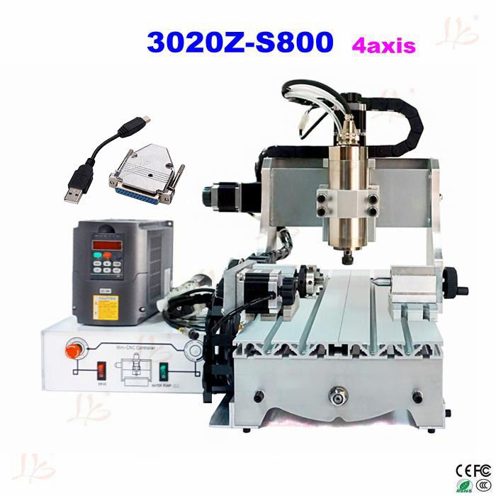 cnc router 3020Z-S800 4 axis with 800W spindle, mini cnc milling machine for metal wood with USB parallel port adapter mini cnc router machine 2030 cnc milling machine with 4axis for pcb wood parallel port