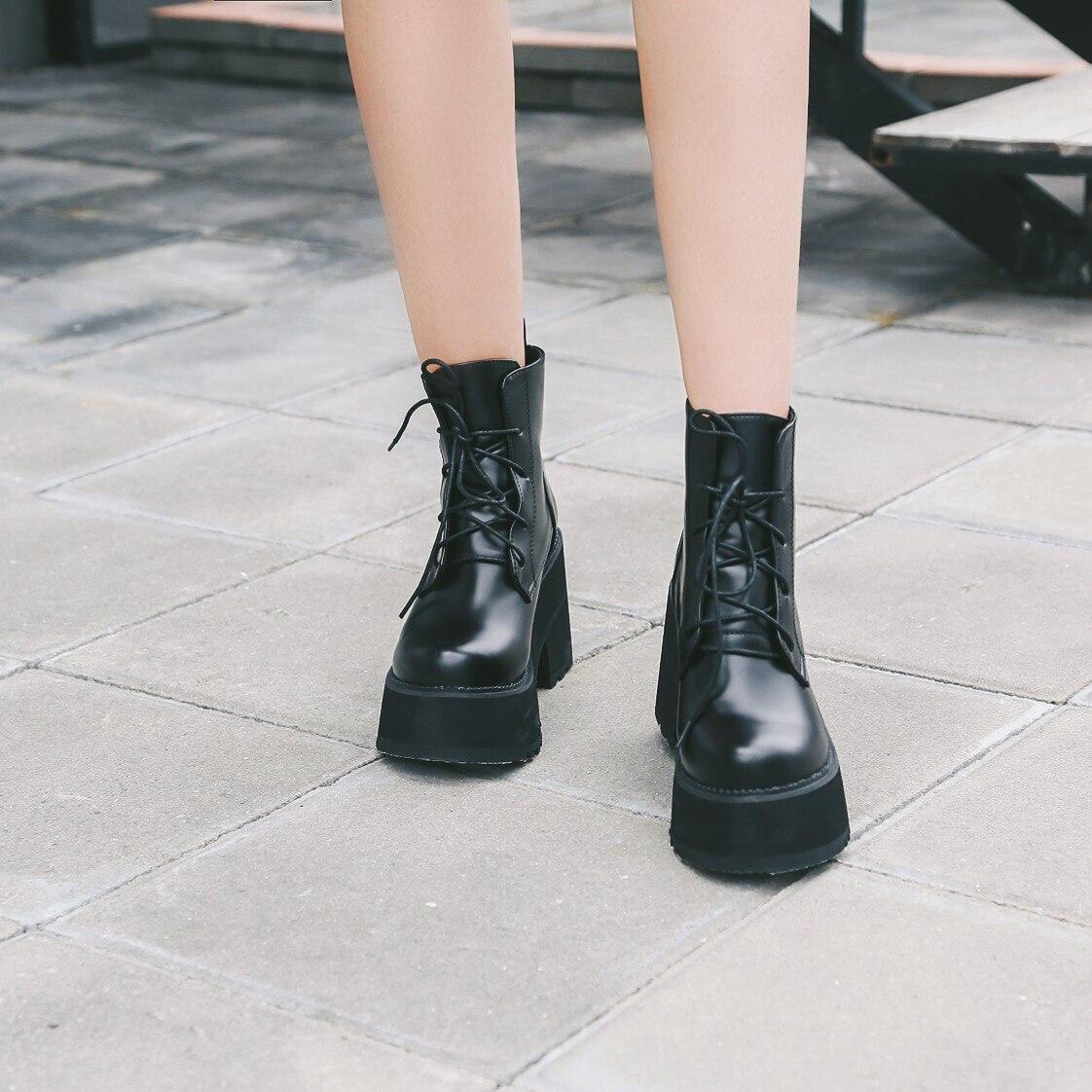 Bottes Fond Moto Courtes Pour Épais Dentelle Martin Cheville Femmes La Japonais Style Noir Jusqu'à Chaussures zSwqp1Ia