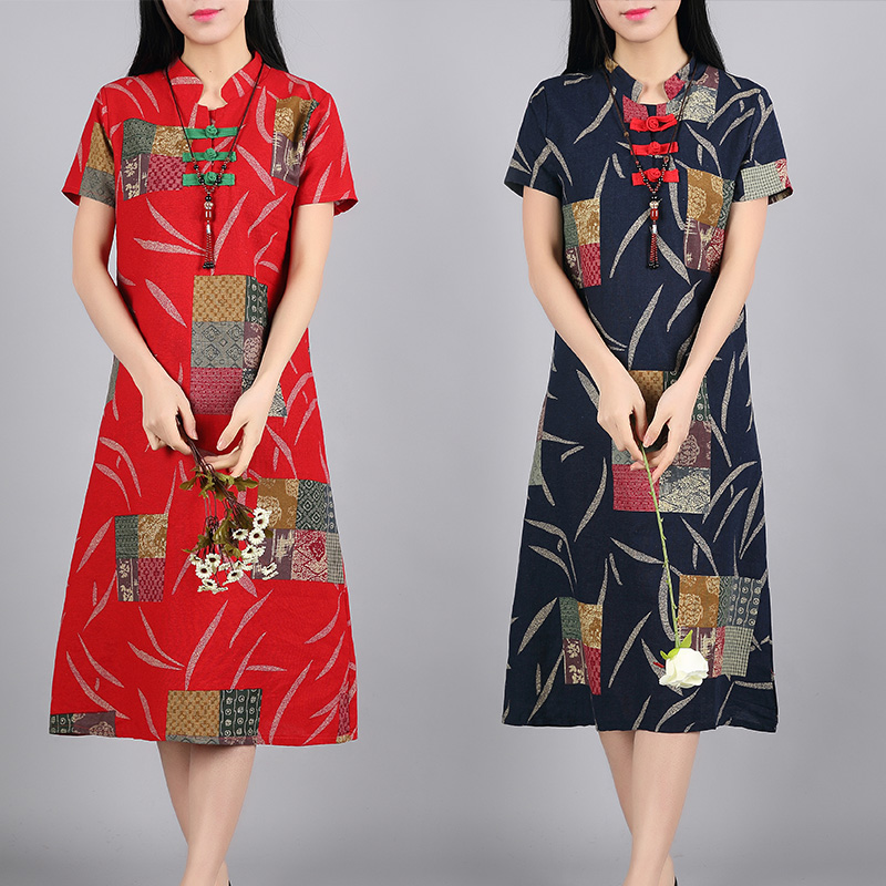 2020 Women's Cotton Oriental Style Dresses Printing Elastic Qipao Short Cheongsam Restore Ancient Traditional Chinese Dress