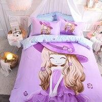 Красивые девушки фиолетовый розовый зеленый Постельное белье twin двуспальная кровать комплект покрывало мягкие простыни одеяло пододеяльн