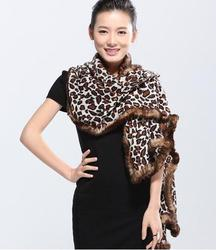 New women winter thick scarves with real rex rabbit fur trim leopard brown purple fahion color female luxurious winter shawl S25