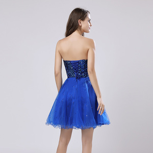 Image 2 - Sweety Royal Blue Sequins Short Prom Dresses Sweetheart Organza A Line Party Gown Lace Up Rode De Soiree In Stock Cheap SLD032