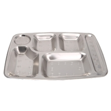 Divided Stainless Steel  Dinner Tray round corners