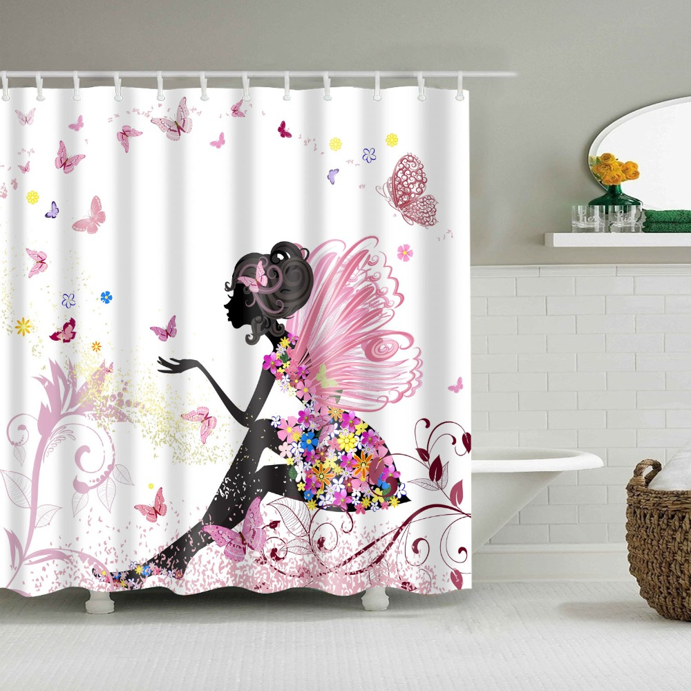 Flower Fairy Shower Curtain Cartoon Girl Waterproof Bath -7040