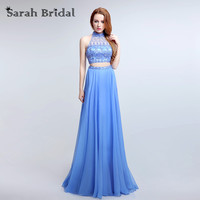 Royal Blue Chiffon Two Piece Prom Dresses 2016 High Neck Elegant Evening Dresses Gowns vestidos boda invitados Backless LX173