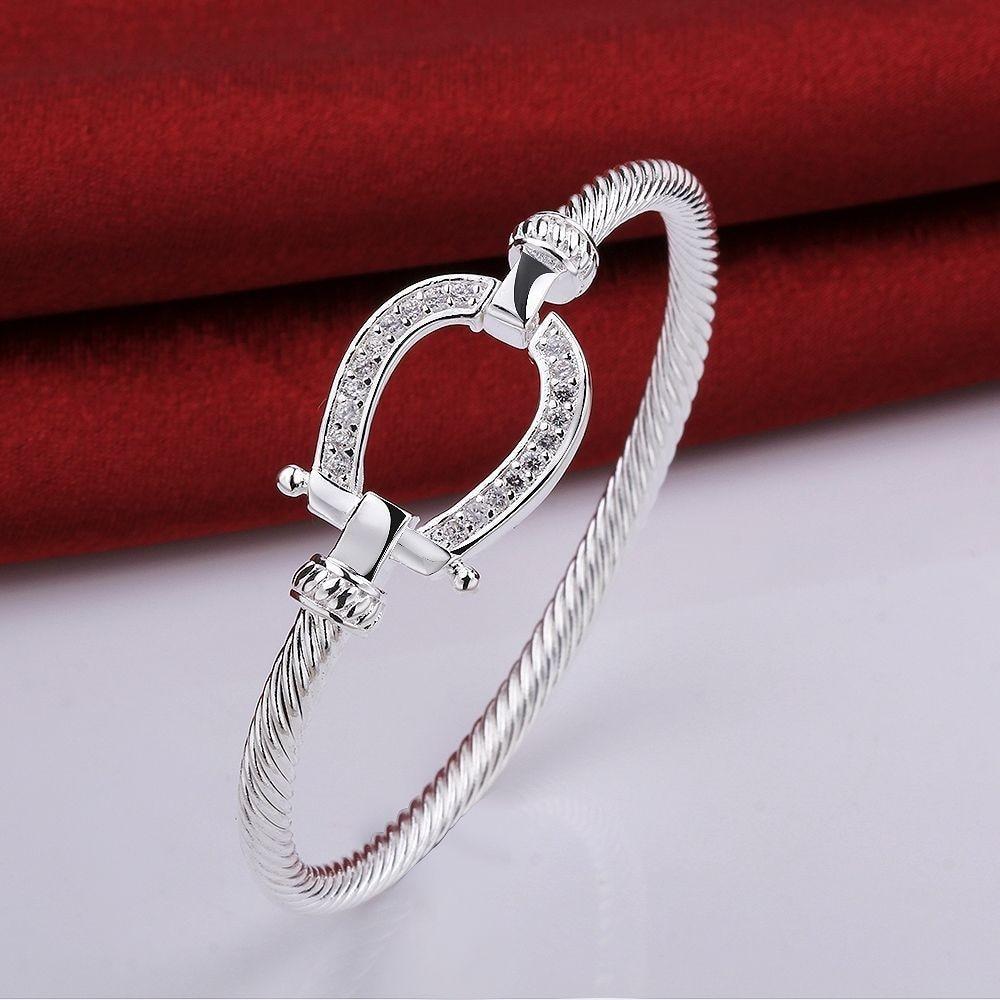 925 estampado plateado Filled Horse Shoe Bangle Pulsera gota de agua joyería de moda Mujeres Amor Regalo de San Valentín
