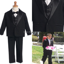 Custom Made Little Men Black 1 Buttons Suits Notch Lapel Boy's Kids Formal Occasion 2014 New Design Wedding Party Tuxedos