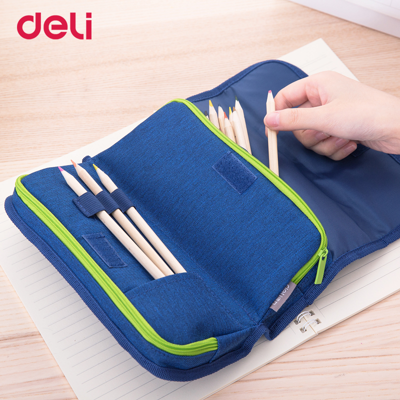 Deli 2018 New quality 4 color cute canvas pencil case for school student supplies office Stationery Pencil Box Gift Pencil Bags simple cute pencil cases transparent abs plastic big pencil case for student