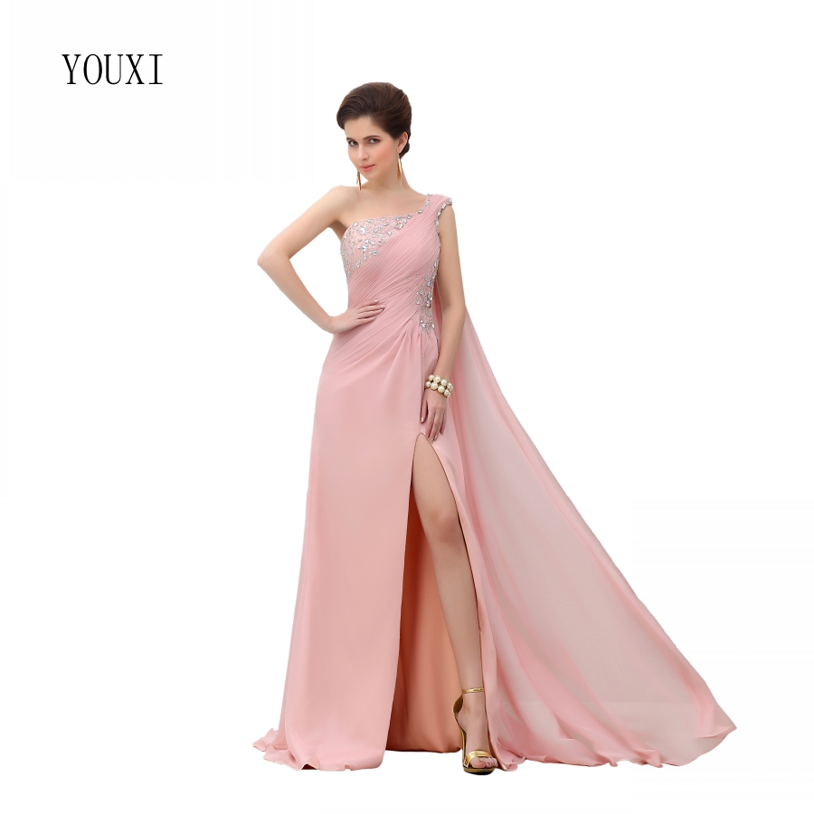 Sexy One Shoulder Pink   Prom     Dresses   2019 New Fashion A-Line High Quality Chiffon Formal Evening Gowns