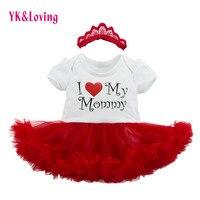 YK и очень люблю маму платье-пачка детские комбинезоны с буквами Комплекты летней одежды для маленьких девочек хлопок Спортивный костюм для ...