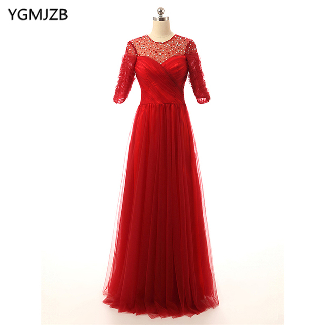 Elegant Red Mother Of The Bride Dresses 2018 A Line Half Sleeves Beaded Tulle Long