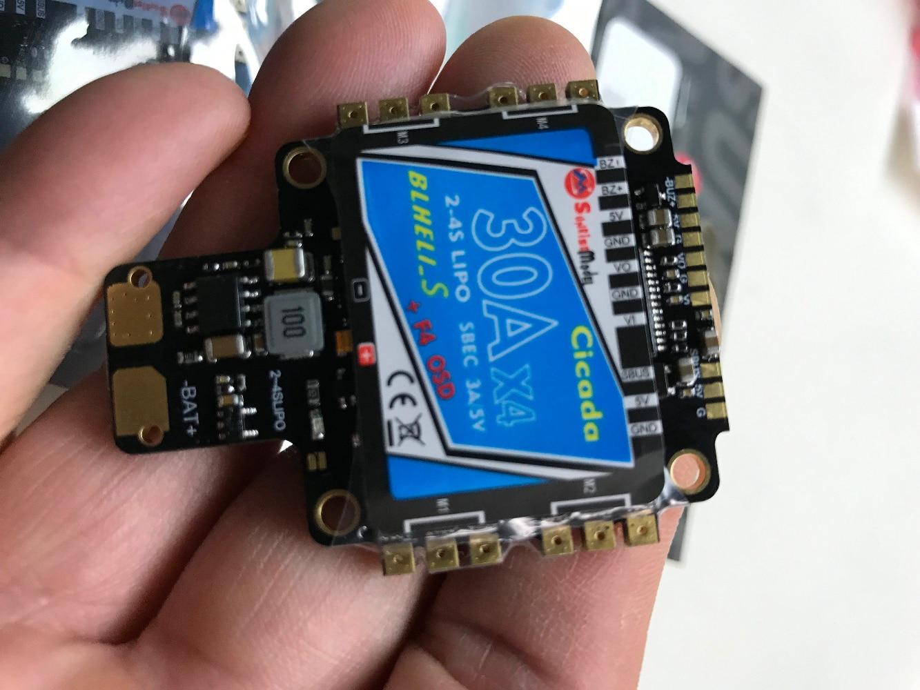 HOBBYMATE Cicada AIO F4 Flight Controller W/30x4 BLHeli_S DSHOT ESC OSD PDB w/BEC Current sensor สำหรับ FPV Racing Drone Quadc-ใน ชิ้นส่วนและอุปกรณ์เสริม จาก ของเล่นและงานอดิเรก บน   3