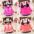 Lovely Baby Girls Parkas Baby Outerwear Baby Coats Baby Girl Minie Mous Hooded Cotton Padded Children Outerwear Coat Jacket 1-4Y