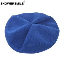 SHOWERSMILE Ladies Summer Berets Hollow Royal Blue Artist Hat Female Breathable Adjustable High Quality French Women Beret