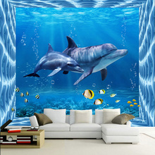 Modern Creative Dolphin Underwater World 3D Photo Wallpaper Kid's Room Living Room TV Sofa Backdrop Mural 3D Cartoon Wall Papers